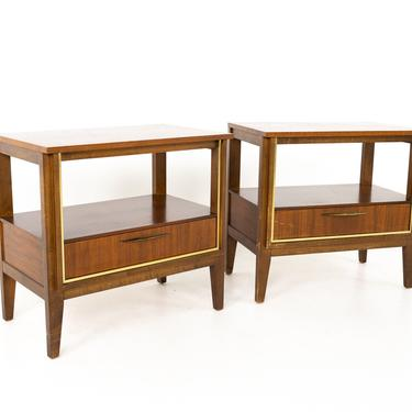 Paul McCobb Style West Michigan Furniture Company Mid Century Walnut and Brass Nightstands - Pair by ModernHill