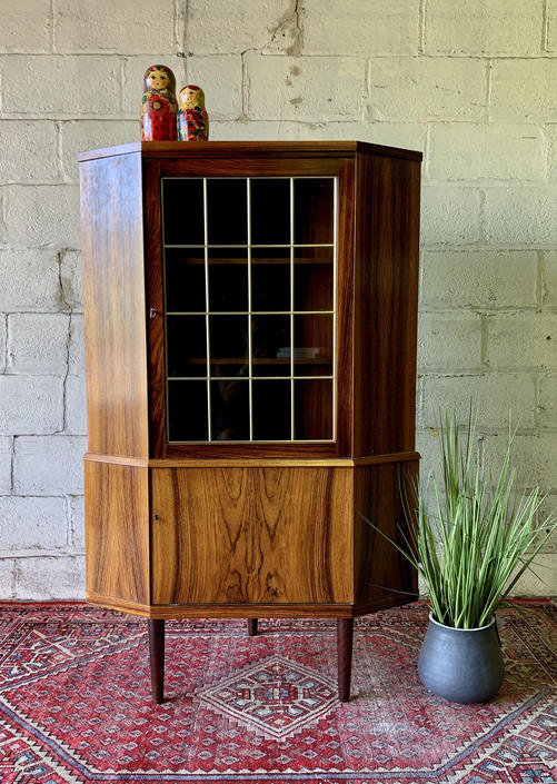 DANISH Mid Century Modern ROSEWOOD CORNER Bookcase / China Cabinet by CIRCA60