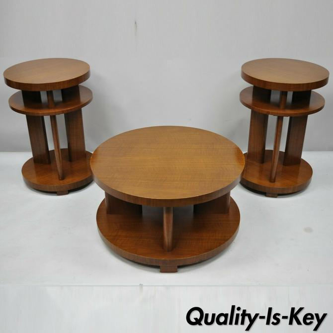 Vtg French Art Deco Round Mahogany 3 Pc Coffee End Table Set After Gilbert Rohde