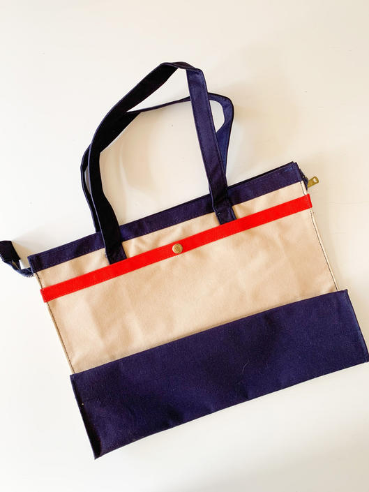 Vintage 1980s Beige, Navy and Red Canvas Tote by MsTips