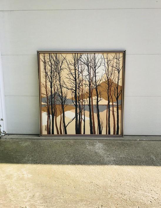 Sunset and trees Letterman MCM Painting by UrbanInteriorsBalt