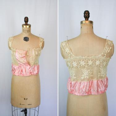 Vintage Edwardian Corset Cover | Vintage pink silk crochet lace chemise | 1910s floral lace silk camisole by BeeandMason