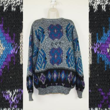 Vintage 1990s Cool Tones Geometric Sweater by GuavaNectarVintage