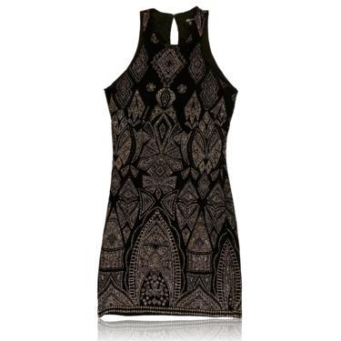 90s Vintage High Neck Halter Dress // Geometric Pink Metallic Black Dress// Size Small// Jump Apparel by Wendyechaitin by RadThingsVintage