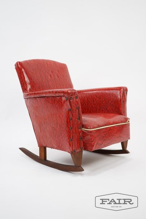 Child's Red Vinyl Rocking Arm Chair
