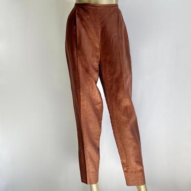 Linen High Waist Pants Copper Brown 1990's by BeggarsBanquet