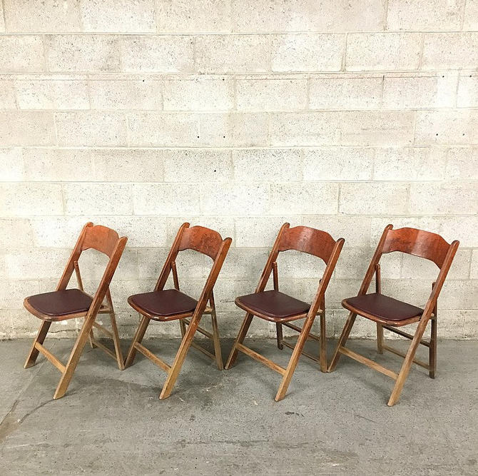 LOCAL PICKUP ONLY Vintage Wood Folding Chairs Retro 1960's Acme Chair Company Set of 4 Brown Card Chairs Burgundy Vinyl Seats Fold Up Frames by RetrospectVintage215