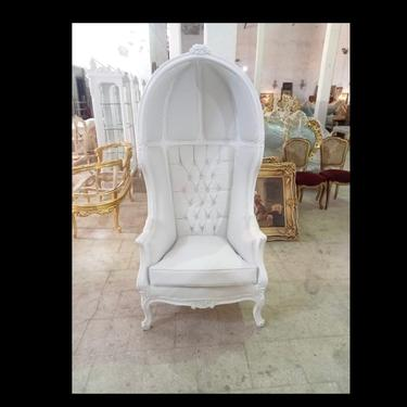 French Balloon Chair White Lacquer with White Leather Throne Chair *2 Available* High-Back French Canopy Chair White Leather Interior Design by SittinPrettyByMyleen