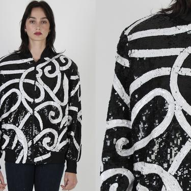 Vintage 80s Black Sequin Blazer / Shiny Holiday Party Jacket / 1980s White Striped Abstract Print Coat / Swirl Scribble Graphic by americanarchive