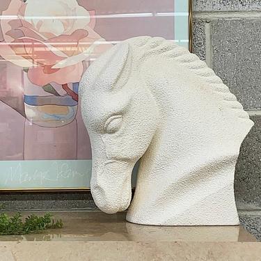 Vintage Horsehead Bust Retro 1990s Contemporary + White + Plaster + Animal + Horse Statue + Braided Mane + Modern + Home and Bookshelf Decor by RetrospectVintage215