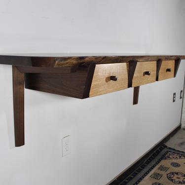Custom walnut live edge 3 drawer wall unit floating desk entry table Mid Century Japanese Nakashima Style by GRWoodworker