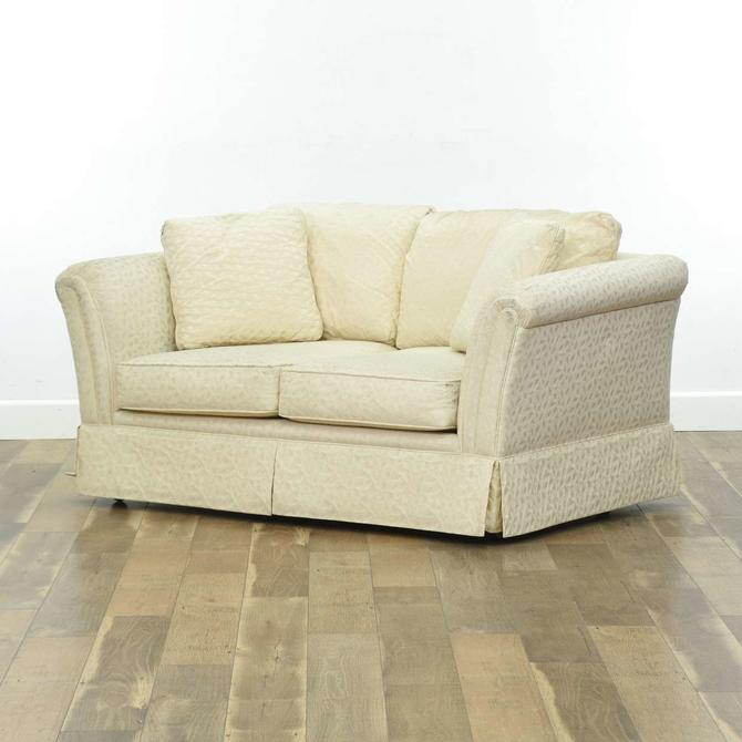 Contemporary Overstuffed Ivory Upholstery Loveseat