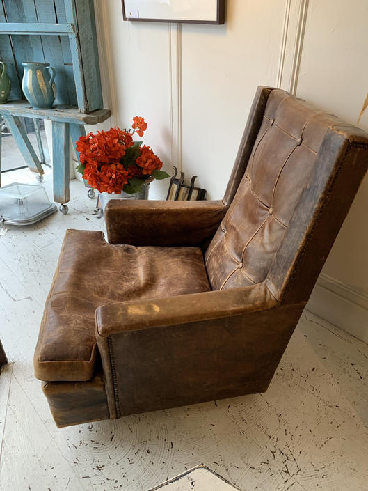 Leather Lounge Chair by coloniaantiques