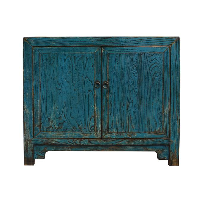 Oriental Distressed Bright Blue Credenza Sideboard Table Cabinet cs5335S