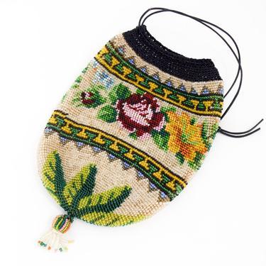 1900s Floral Beaded Handbag   Beaded Drawstring Bag by GlennasVintageShop