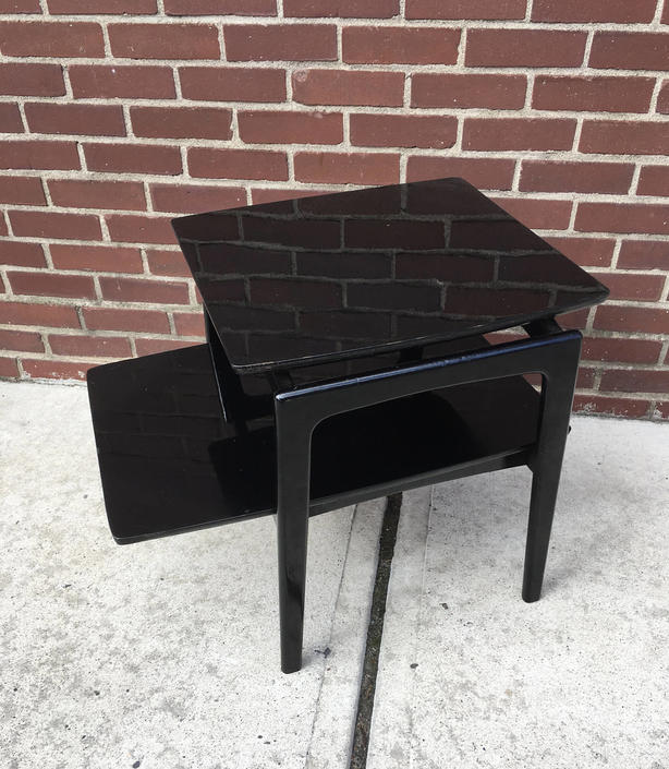 Mid- century Black End Table in the Style of Jens Risom by bcdrygoods
