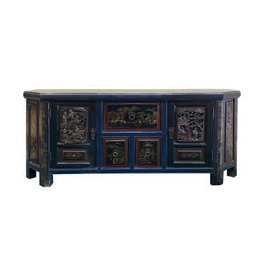 Chinese Distressed Brown Golden People Scenery Motif TV Console Table Cabinet cs6158E by GoldenLotusAntiques