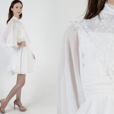 60s White Chiffon Wedding Dress / Vintage 1960s Floral Lace Dress / Mod Style Bridal Gown / Sheer Puff Poet Sleeve Party Mini Dress by americanarchive
