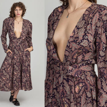 80s Paisley Print Deep V Maxi Dress - Medium to Large   Vintage Belted Grunge Long Sleeve Pocket Dress by FlyingAppleVintage