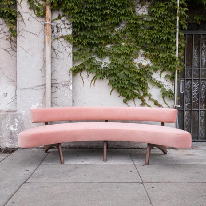 Pink Boomerang Mid Century Sofa