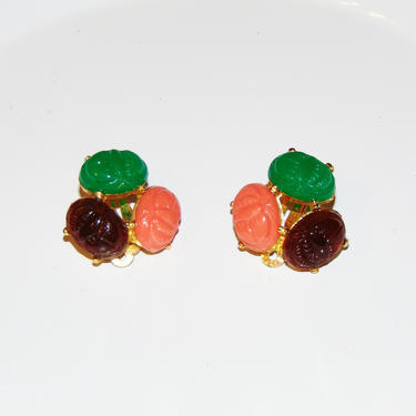 Vintage Colorful Gold Tone Scarab Clip On Earrings- Pat no. 156452 by AllMyItems