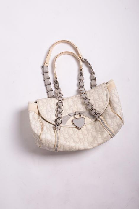 Christian Dior Rare Heart Lock Romantique Monogram Shoulder Bag Gray White Chain Link Strap Logo Y2K Trotter by backroomclothing