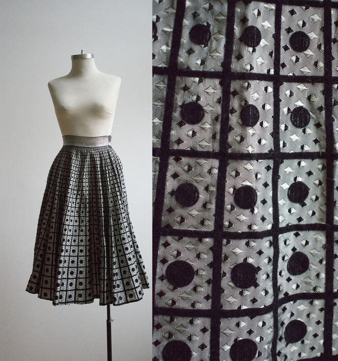 Vintage 1950s Circle Skirt / Silver and Black Skirt / Full Vintage Skirt / Vintage Brocade Shirt / Long Formal Skirt / Formal Eveningwear by milkandice
