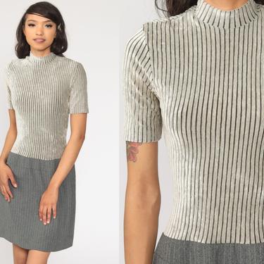 90s Mini Dress Grey Velour Striped Dress Shift Pinstriped Vintage 1990s Dress Short Sleeve Mock Neck Minidress Small by ShopExile