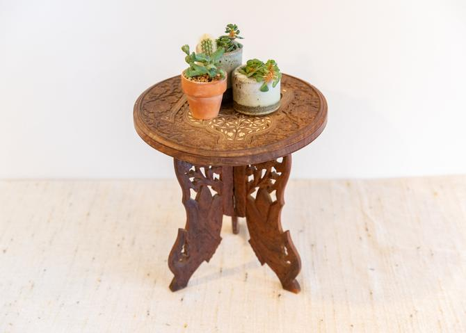 Gorgeous Vintage Hand Carved Accent/Plant Stand Table -  Made in India by PortlandRevibe