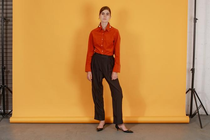 80s Black Silky Minimal Straight Leg Pants Vintage Elastic Deadstock Trousers by AppleBranchesVintage