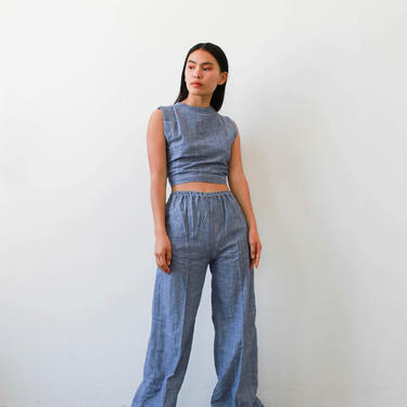 vintage 1970s deadstock indian chambray pant set by blossomvintageshop