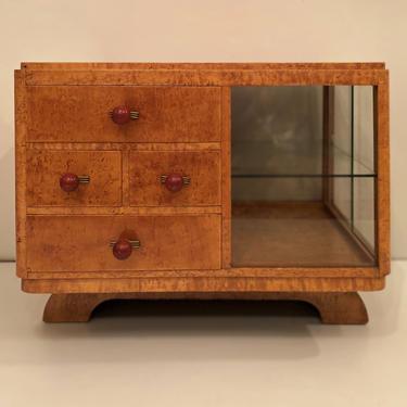 Art Deco side table / vitrine , Amboyna wood   France c. 1930 by ClassicAntiquesPHL