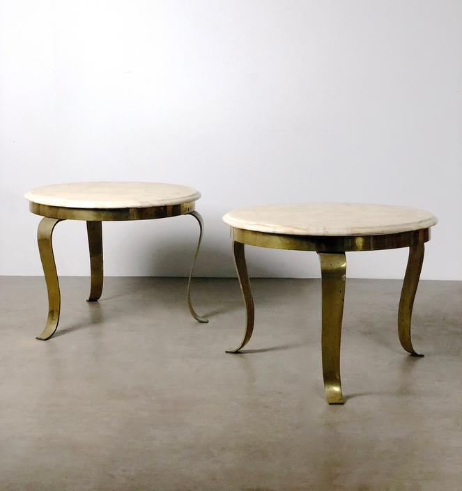 Pair Muller's Onyx & Brass End Tables, 1960's by 20cModern