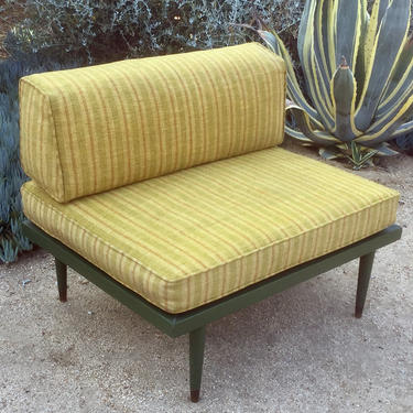 Mid century cushioned bench with back