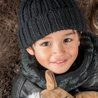 Alpaca Kids Ribbed Beanie
