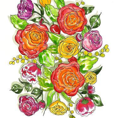 Spring Flowers Watercolor Art Print