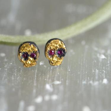 24KT Gold, Oxidized Sterling Silver and Ruby Eye Skull Studs