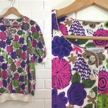 Vintage Floral Button Up Top 80s Blouse 1980s Summer Short Sleeve Oversized Women's Size Large L Plus Size Curvy Volup Loose Fit Jewel Tone by CheckEngineVintage