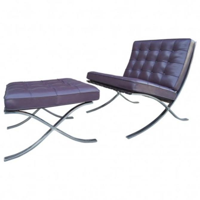 Eggplant Leather Barcelona Chair and Ottoman by Mies Van Der Rohe for Knoll