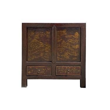 Chinese Distressed Brown Golden Scenery Side Table Cabinet cs6140E by GoldenLotusAntiques