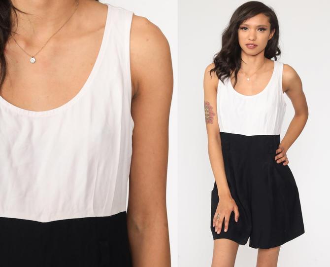 Black Mini Dress Vintage 90s Party Dress Black White Dress Pocket Sleeveless Sheath High Waisted Little Black Dress Medium 8 by ShopExile