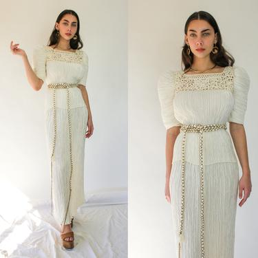 Vintage 80s Mary McFadden Couture Ivory Fortuny Pleated Belted Poof Shoulder Blouse & Skirt Two Piece Set | 1980s Designer Couture Suit Set by TheVault1969