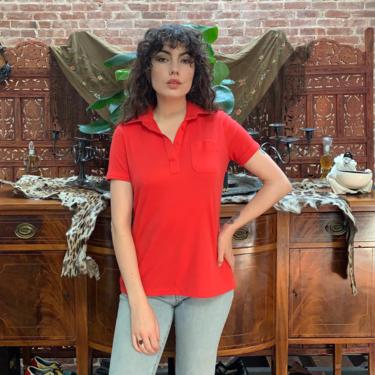 70's RED TEE SHIRT - collar - breast pocket - v neck - medium/large by GlamItToHell
