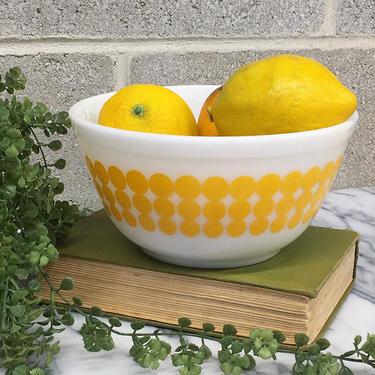 Vintage Pyrex Bowl Retro 1960s Mid Century Modern + Yellow Dots + #402 + 1.5 Quart + White Ceramic + Polka Dots + Kitchen Decor and Storage by RetrospectVintage215