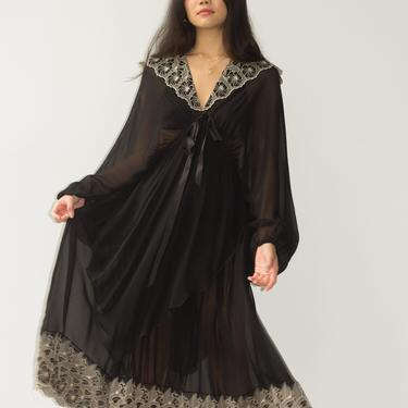 1970s Yves St. Tropez Balloon Sleeve Chiffon Embroidered Dress by waywardcollection