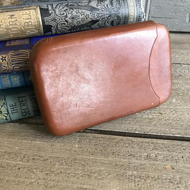English Brown Leather Cigar Case, Hand Sewn, Antique by JansVintageStuff