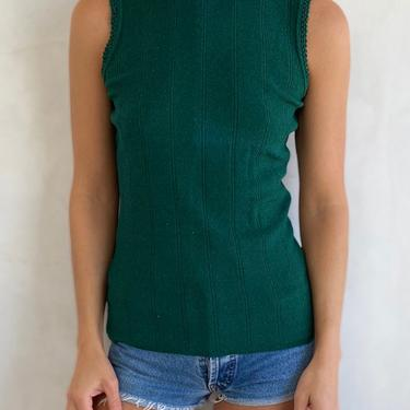 Vintage 60s / 70s Sleeveless Evergreen Fitted Tank Top - High neck Green Shirt by LittleSparkVintage