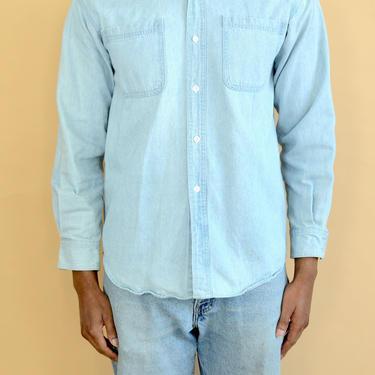 Vintage Light Blue Denim Button Down Shirt Medium Small by MAWSUPPLY