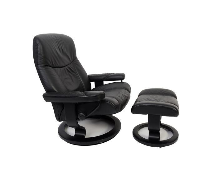 Ekornes Stressless Reclining Chair & Ottoman Black Leather Norway Mid Century Modern by HearthsideHome