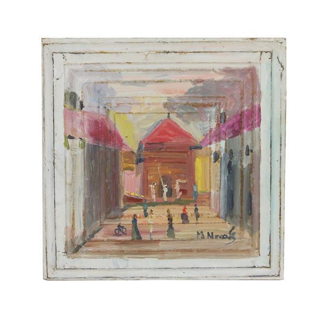 Handmade Classic Courtyard Mladen Novak Tin Panel Painting